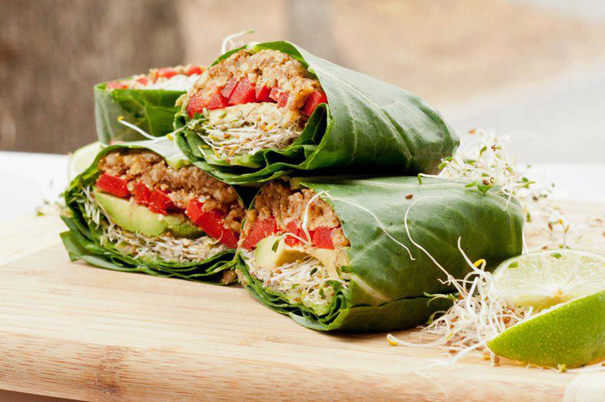 Collard green wraps. Image courtesy Giva Organic Restaurant.