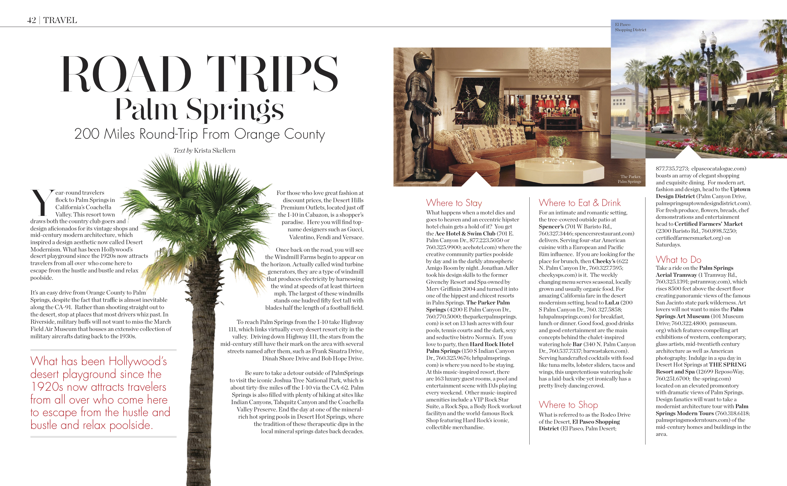 Magazine Editorial: Road Trip to Palm Springs